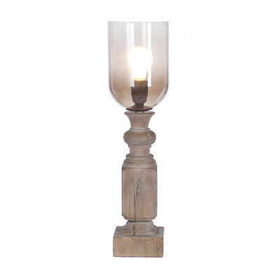 Antique Wood and Smoke Glass Uplight