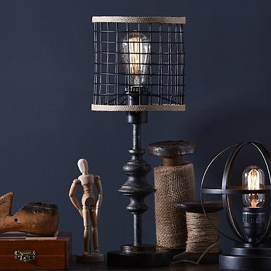 metal and burlap edison lamp - Industrial Decor