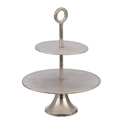 Metallic Silver 2-Tier Serving Tray
