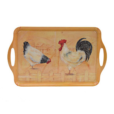 Rooster and Hen Serving Tray