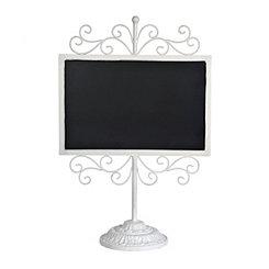 White Metal Scroll Chalkboard Stand