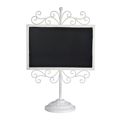 White Metal Scroll Chalkboard Stand