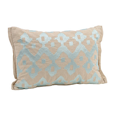 Aqua Embroidered Ikat Accent Pillow
