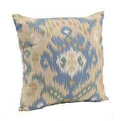 Blue and Taupe Ikat Pillow