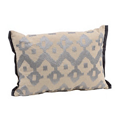 Charcoal Embroidered Ikat Accent Pillow