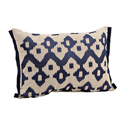 Navy Embroidered Ikat Accent Pillow