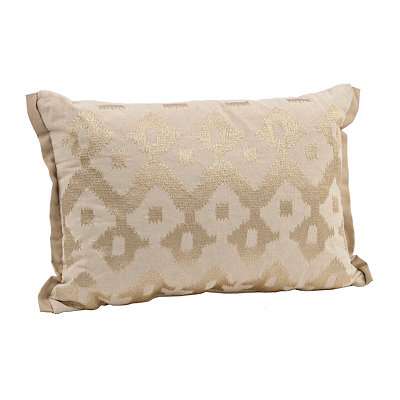 Taupe Embroidered Ikat Accent Pillow