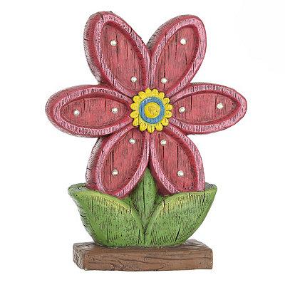 Pink Flower Solar Statue