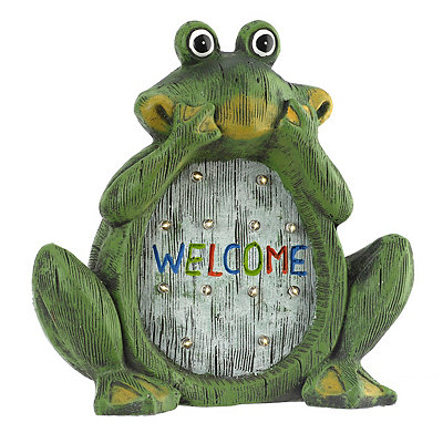 Welcome Frog Solar Statue
