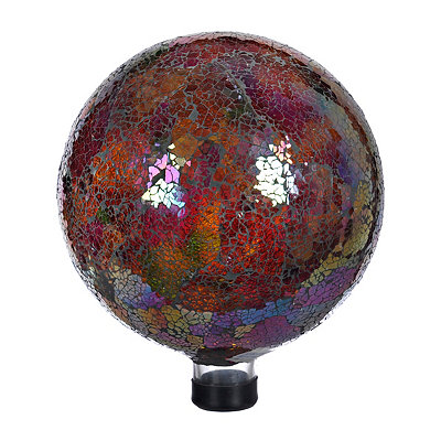Red Mosaic Gazing Ball