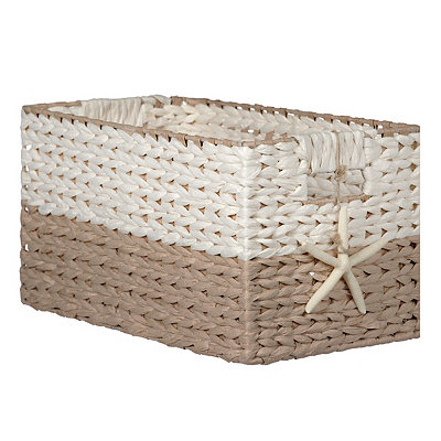 Woven Basket with Starfish Charm, Medium