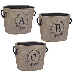 Burlap Laurel Monogram Storage Bins