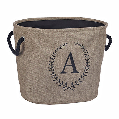 Burlap Laurel Monogram A Storage Bin