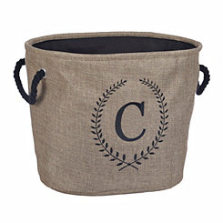 Burlap Laurel Monogram C Storage Bin