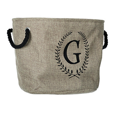 Burlap Laurel Monogram G Storage Bin