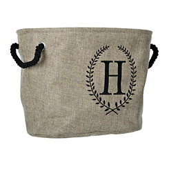 Burlap Laurel Monogram H Storage Bin