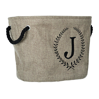 Burlap Laurel Monogram J Storage Bin