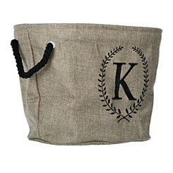 Burlap Laurel Monogram K Storage Bin
