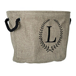 Burlap Laurel Monogram L Storage Bin
