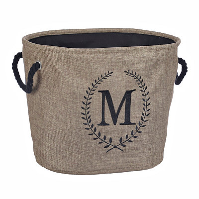 Burlap Laurel Monogram M Storage Bin