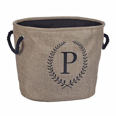 Burlap Laurel Monogram P Storage Bin