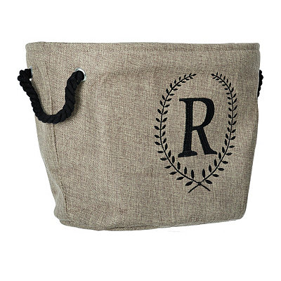 Burlap Laurel Monogram R Storage Bin
