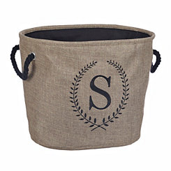 Burlap Laurel Monogram S Storage Bin