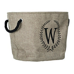 Burlap Laurel Monogram W Storage Bin