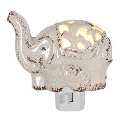 White Ceramic Elephant Night Light