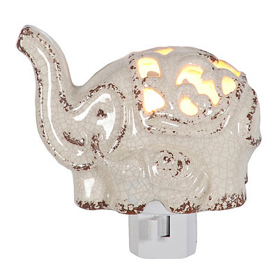White Ceramic Elephant Night Light