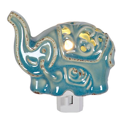 Blue Ceramic Elephant Night Light