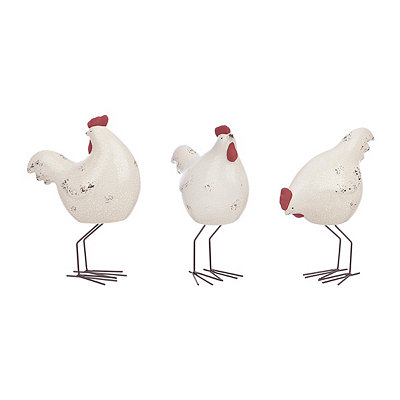 Terra Cotta Rooster Figurines, Set of 3