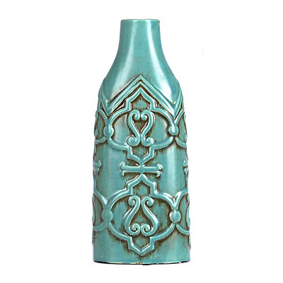 Blue Distressed Scroll Vase