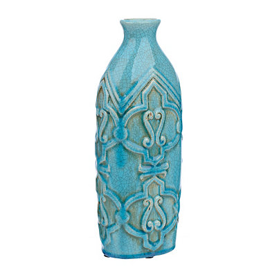 Turquoise Distressed Scroll Vase