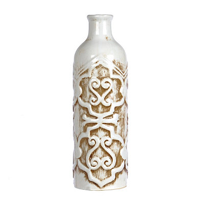 White Distressed Scroll Vase