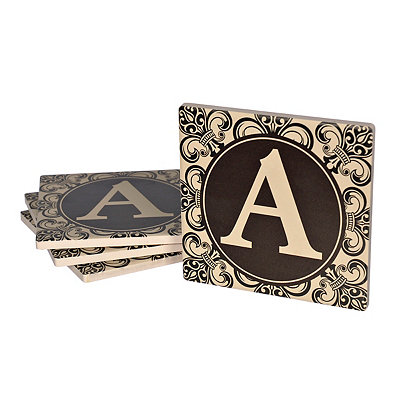 Fleur-de-lis Scroll Monogram A Coasters, Set of 4