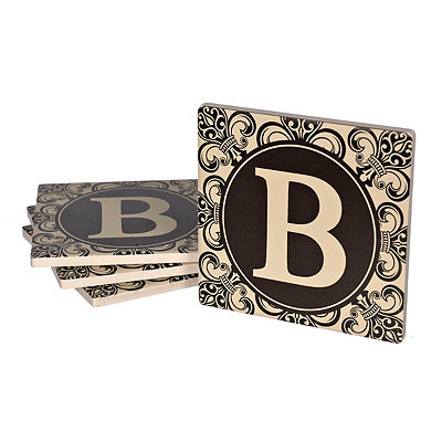 Fleur-de-lis Scroll Monogram B Coasters, Set of 4
