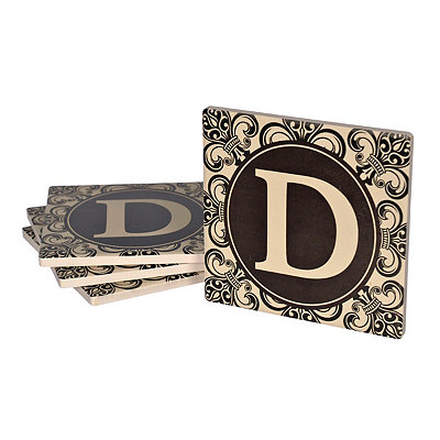 Fleur-de-lis Scroll Monogram D Coasters, Set of 4