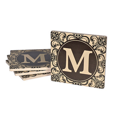 Fleur-de-lis Scroll Monogram M Coasters, Set of 4