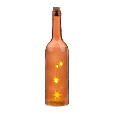 Pre-Lit Amber Decorative Bottle