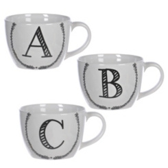 Black and White Monogram Sketch Mugs