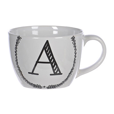 Black and White Monogram A Sketch Mug
