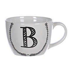 Black and White Monogram B Sketch Mug