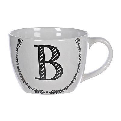 Black and White Monogram B Sketch Mug