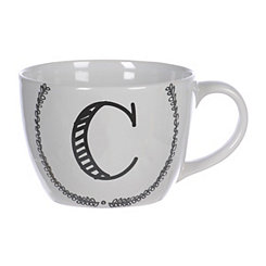 Black and White Monogram C Sketch Mug
