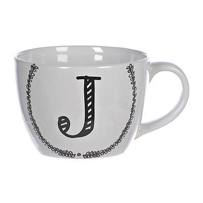 Black and White Monogram J Sketch Mug