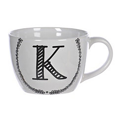 Black and White Monogram K Sketch Mug