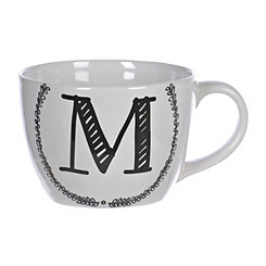 Black and White Monogram M Sketch Mug