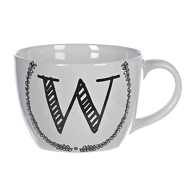 Black and White Monogram W Sketch Mug