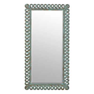 Hannah Distressed Turquoise Loop Mirror